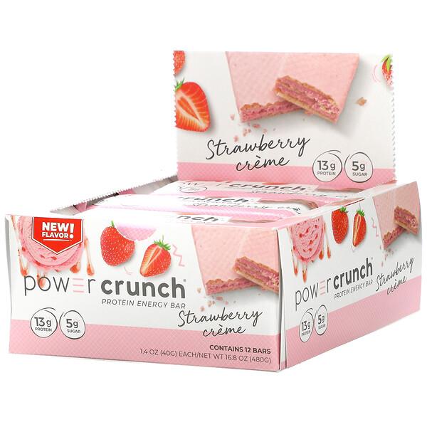 BNRG, Power Crunch Protein Energy Bar, Strawberry Creme, 12 Bars, 1.4 oz (40 g) Each