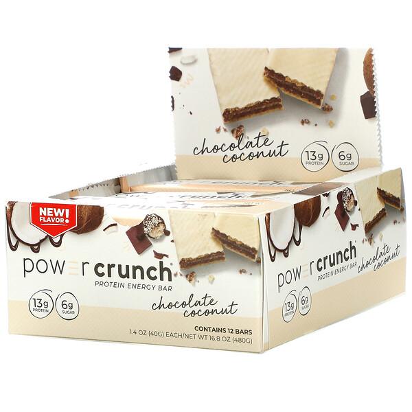 Power Crunch Protein Energy Bar, Chocolate Coconut, 12 Bars, 1.4 oz (40 g) Each