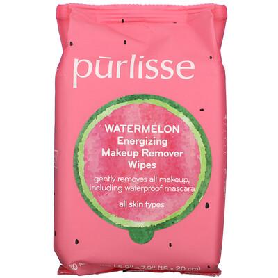 Купить Purlisse Watermelon, Energizing Makeup Remover Wipes, 30 Towelettes