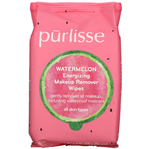 Purlisse, Watermelon, Energizing Makeup Remover Wipes, 30 Towelettes (Discontinued Item)