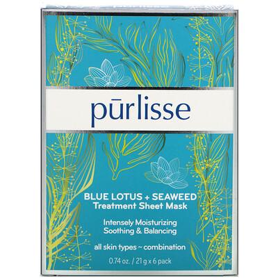 Purlisse Blue Lotus + Seaweed, Treatment Sheet Mask, 6 Masks, 0.74 oz (21 g) Each