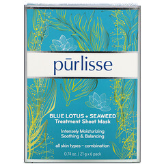 Purlisse, 藍蓮花 + 海藻,修復用片膜, 6 片面膜,每片 0.74 盎司(21 克)