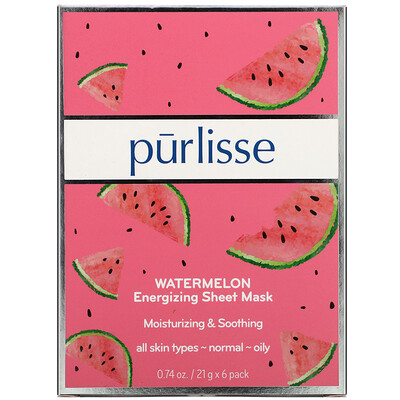 Купить Purlisse Watermelon, Energizing Sheet Mask, 6 Sheets, .074 oz (21 g) Each