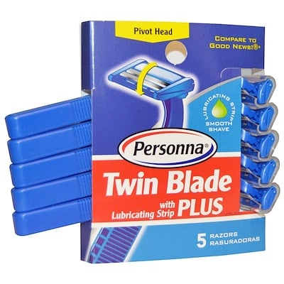 Personna Razor Blades 雙刀片剃須刀,含潤滑帶,5只裝