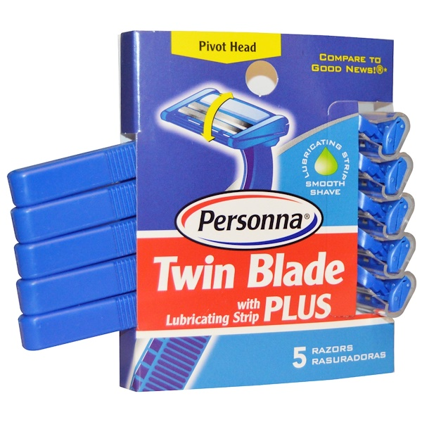 Personna Razor Blades, Twin Blade Plus with Lubricating Strip,  5 Razors
