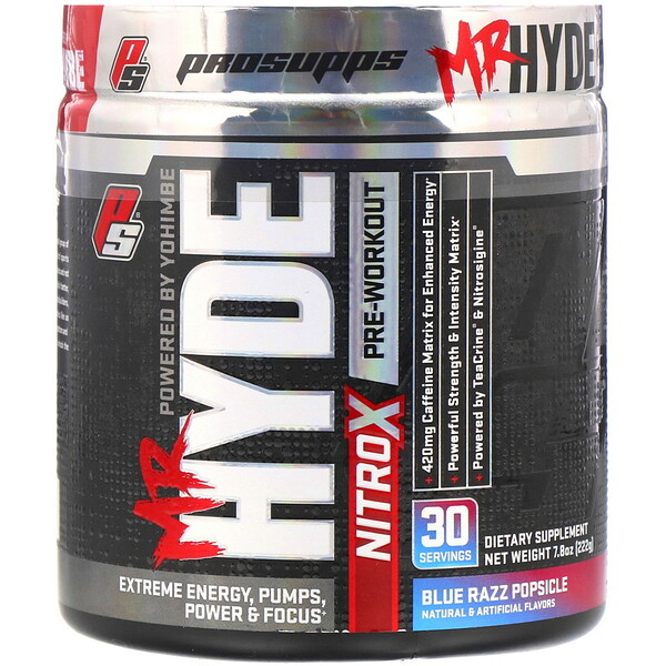 ProSupps, Mr. Hyde, Nitro X, Pre Workout, Blue Razz Popsicle, 7.8 oz (222 g)