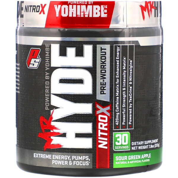 Mr. Hyde, Nitro X, Pre Workout, Sour Green Apple, 7.8 oz (222 g)
