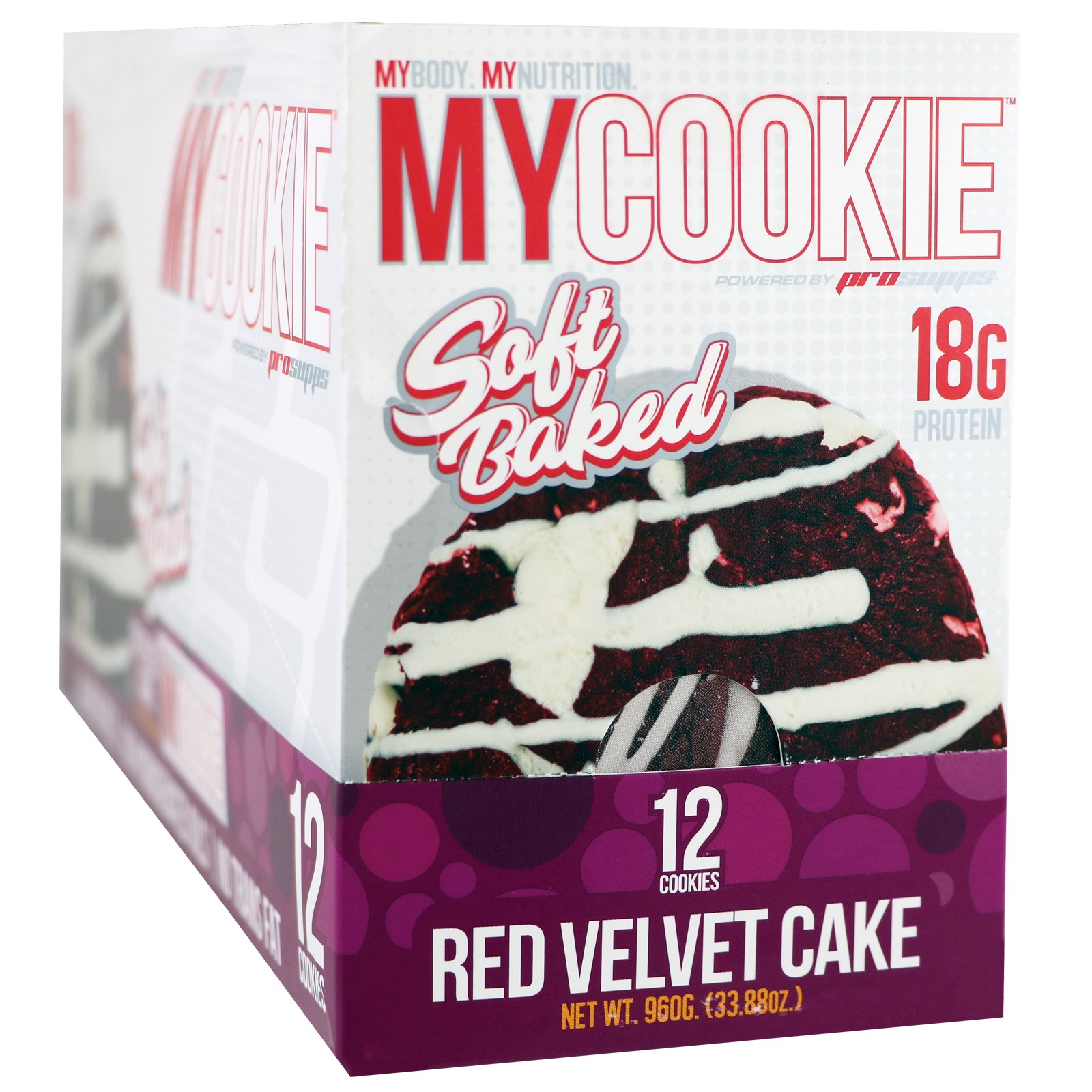 ProSupps, My Cookie, шоколадный бисквит с красным оттенком, 12 печений по 2,82 унции (80 г)