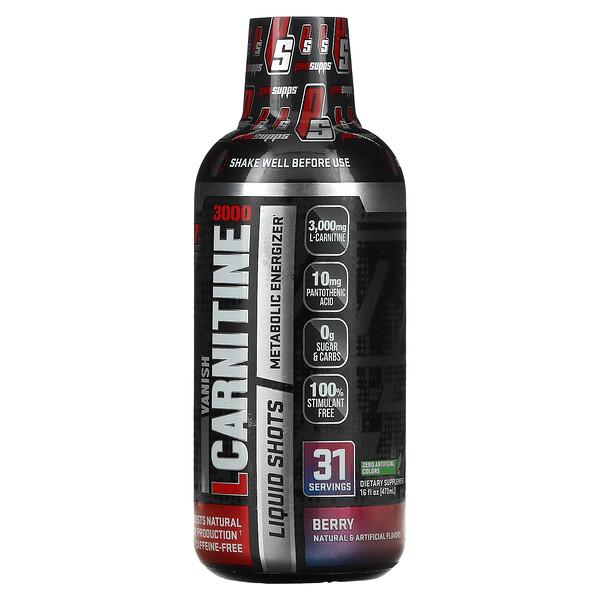 Vanish, L-Carnitine 3000 Liquid Shots, Berry, 3,000 mg, 16 fl oz (473 ml)
