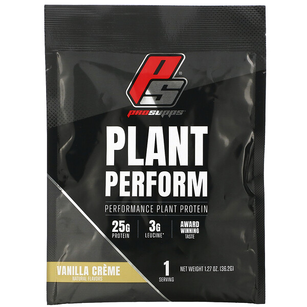 ProSupps, Plant Perform, Performance Plant Protein, Vanilla Creme, 1 Packet, 1.27 oz (36.2 g) (Discontinued Item)