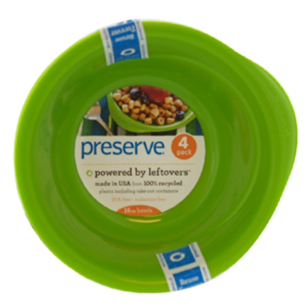 Preserve, Apple Green Everyday Bowls, 4 Pack, 16 oz Each   (Discontinued Item)