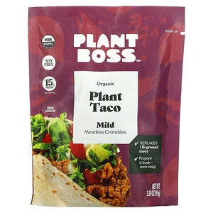 Plant Boss, Organic Plant Taco Meatless Crumbles, Mild, 3.35 oz (95 g)