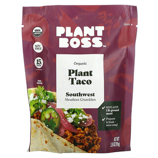 Plant Boss, Organic Plant Taco, Southwest Meatless Crumbles, 3.35 oz (95 g)