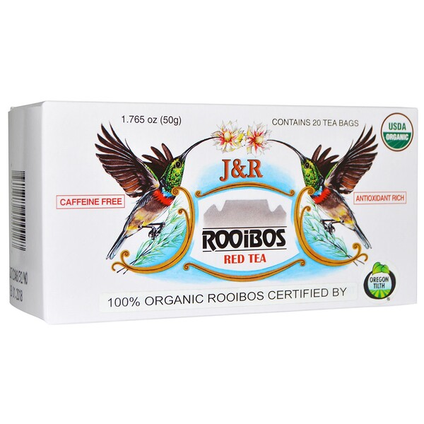 J&R Rooibos Red Tea, Caffeine Free, 20 Tea Bags, 1.765 oz (50 g)