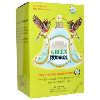 Port Trading Co., Organic Green Rooibos, Caffeine-Free, 40 Tea Bags, 3.53 oz (100 g)