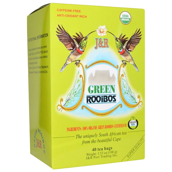 J&R Port Trading Co., Organic Green Rooibos, Caffeine-Free, 40 Tea Bags, 3.53 oz (100 g)
