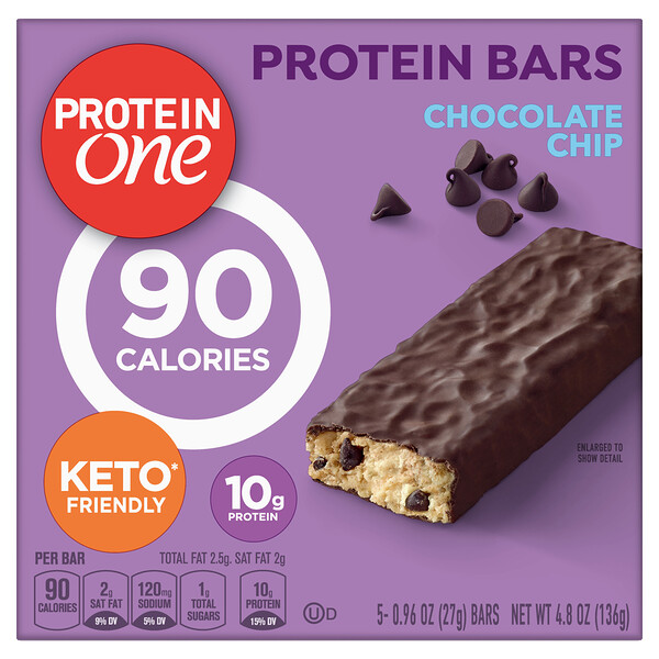 Protein One, Protein Bars, Chocolate Chip, 5 Bars, 0.96 oz (27 g) Each