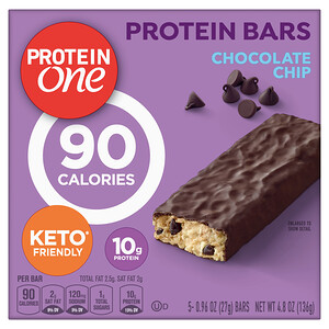 Protein One, Protein Bars, 90 Calories, Chocolate Chip, 5 Bars, 4.8 oz (136 g)