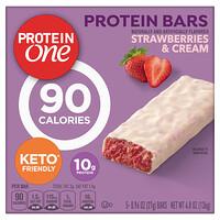 Protein One, Protein Bars, Strawberries & Cream, 5 Bars, 0.96 oz (27 g) Each