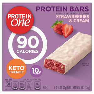 Protein One, Protein Bars, 90 Calories, Strawberries & Cream, 5 Bars, 4.8 oz (136 g)