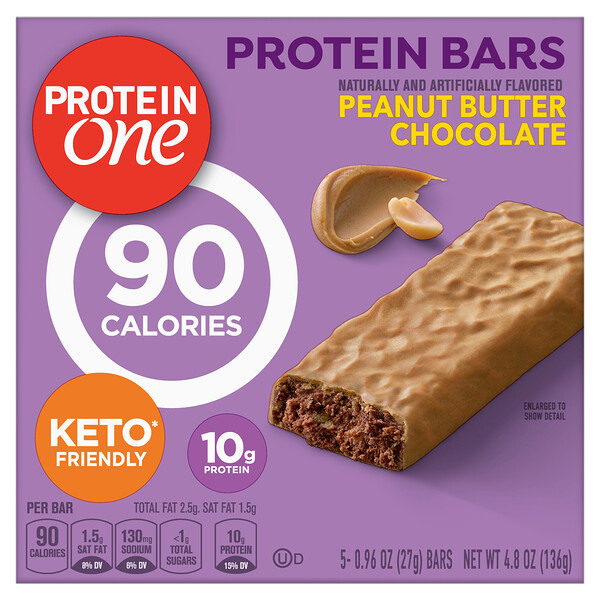 Protein One, Protein Bars, Peanut Butter Chocolate, 5 Bars, 0.96 oz (27 g) Each