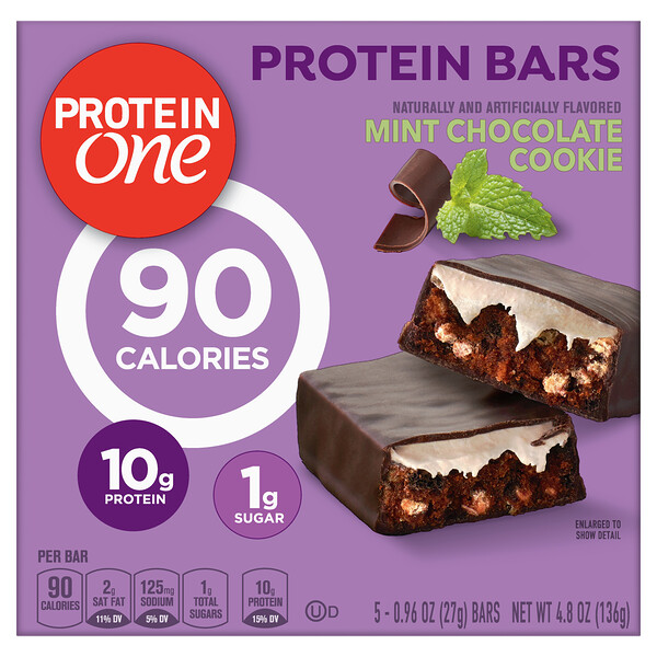 Protein One, Protein Bars, Mint Chocolate Cookie, 5 Bars, 0.96 oz (27 g) Each