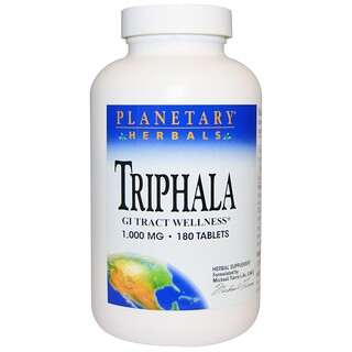 Planetary Herbals, Triphala, Bem-estar do Trato Gastrointestinal, 1000 mg, 180 Comprimidos