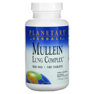 Planetary Herbals, Mullein, Lung Complex, 850 mg, 180 Tablets