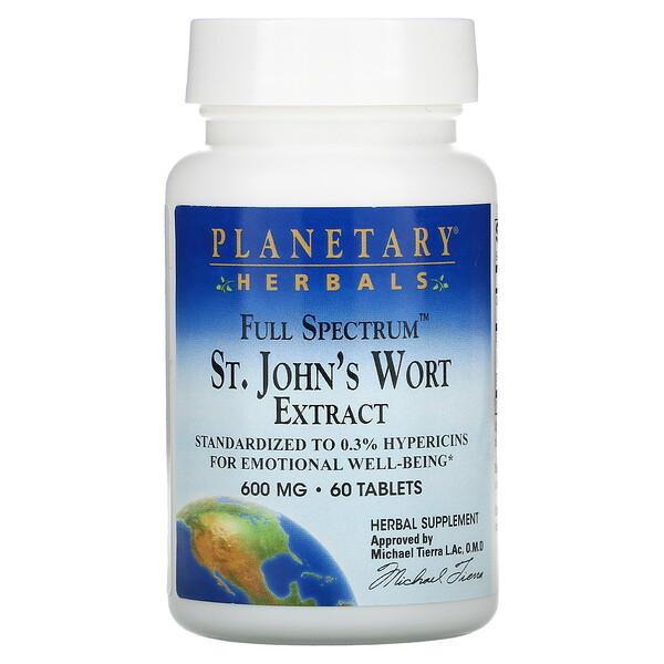 Planetary Herbals, Das Ganze Spektrum Johanniskraut Extrakt, 600 mg, 60 Tabletten