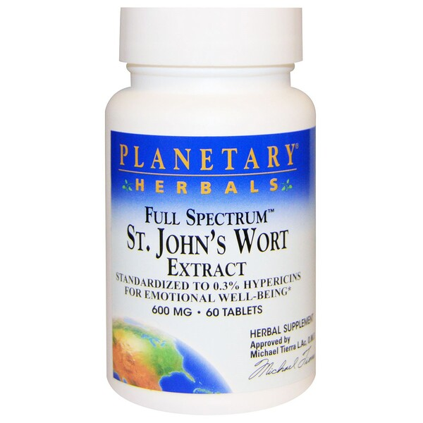 Planetary Herbals, Full Spectrum St. John's Wort Extract, 600 mg, 60 Tablets