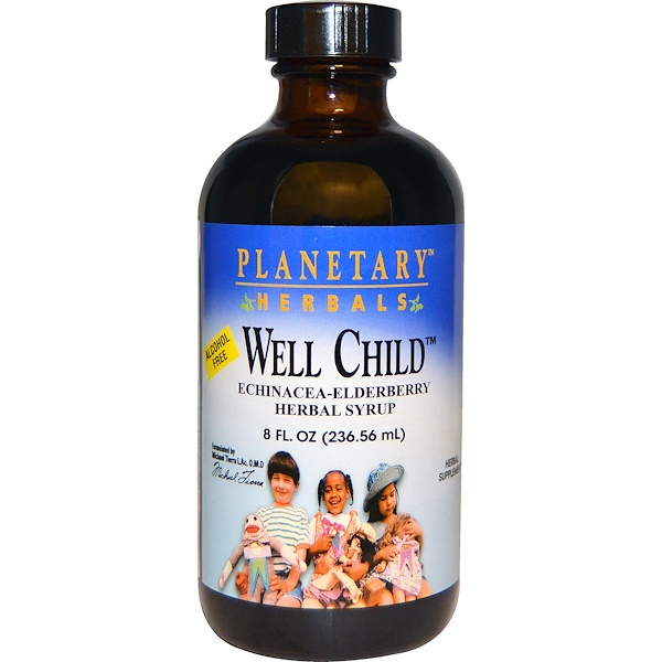 Planetary Herbals, Well Child, Echinacea-Elderberry Herbal Syrup, Alcohol Free, 8 fl oz (236.56 ml) (Discontinued Item)