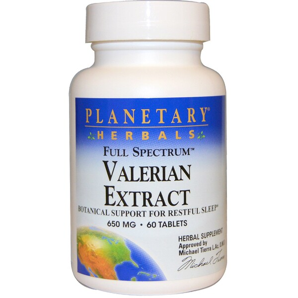 Planetary Herbals, Valerian Extract, Full Spectrum, 650 mg, 60 Tablets