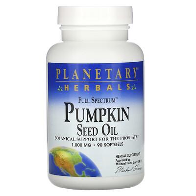 Planetary Herbals Тыквенное масло с полным спектром активных веществ, 1000 мг, 90 гелевых капсул