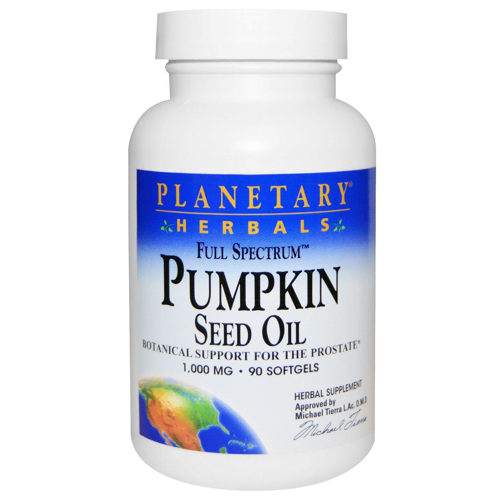 Planetary Herbals, Тыквенное масло с полным спектром активных веществ, 1000 мг, 90 гелевых капсул