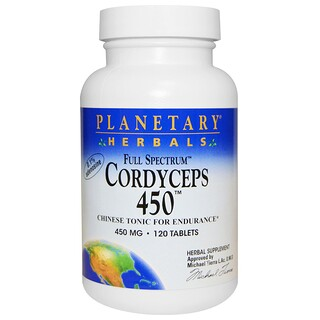 Planetary Herbals, 冬虫夏草 450、フルスペクトル、450 mg、120錠
