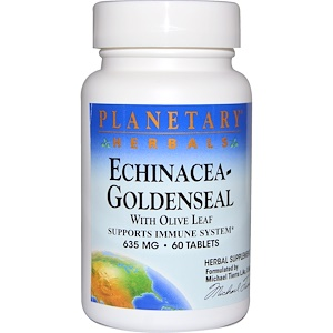 Планетари Хербалс, Echinacea-Goldenseal with Olive Leaf, 635 mg, 60 Tablets отзывы