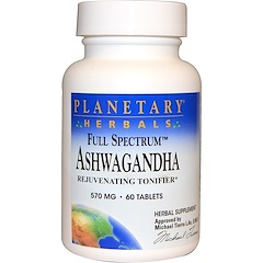 Planetary Herbals, アシュワガンダ, フルスペクトラム, 570 mg, 60錠