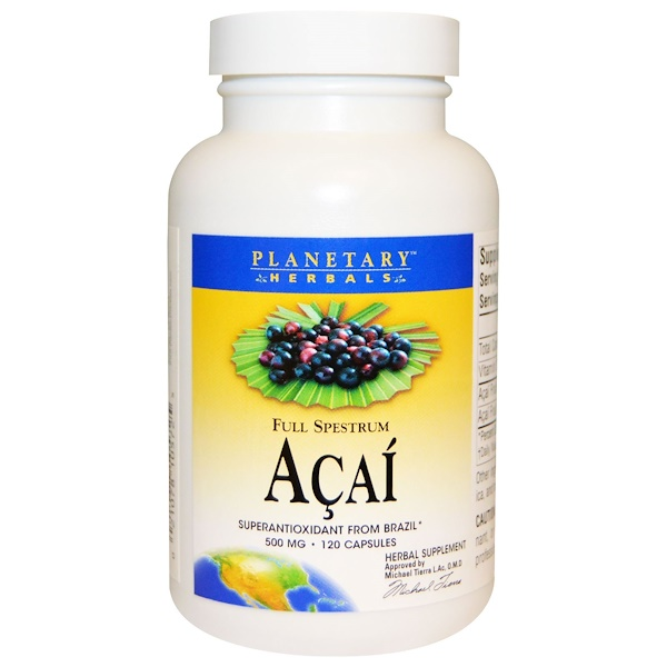 Planetary Herbals, Acai, Full Spestrum, 500 mg, 120 Capsules (Discontinued Item)