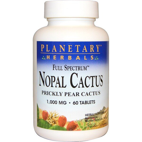 Nopal Cactus, Full Spectrum, Prickly Pear Cactus, 1,000 mg, 60 Tablets