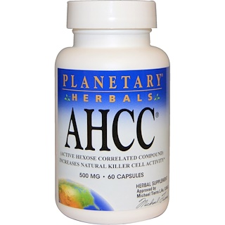 Planetary Herbals, AHCC (Active Hexose Correlated Compound), 500 mg, 60 캡슐
