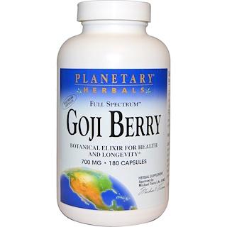 Planetary Herbals, Vollspektrum-Goji-Beere, 700 mg, 180 Kapseln