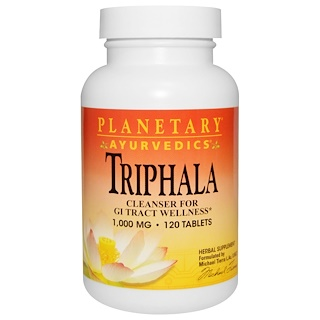 Planetary Herbals, アーユルヴェーダ, トリファラ(Triphala), 1,000 mg, 120錠