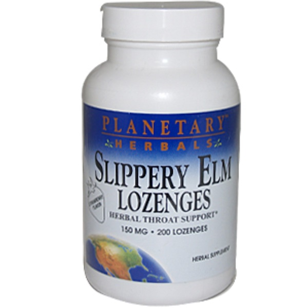 Planetary Herbals, Slippery Elm Lozenges, Unflavored, 150 mg, 200 Lozenges (Discontinued Item)