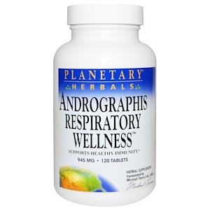 Планетари Хербалс, Andrographis Respiratory Wellness, 945 mg, 120 Tablets отзывы