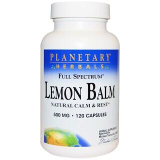 Planetary Herbals, Zitronenmelisse, Vollspektrum, 500 mg, 120 Kapseln