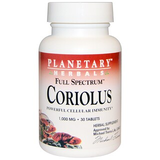 Planetary Herbals, Full Spectrum Coriolus, 1,000 mg, 30 Tablets