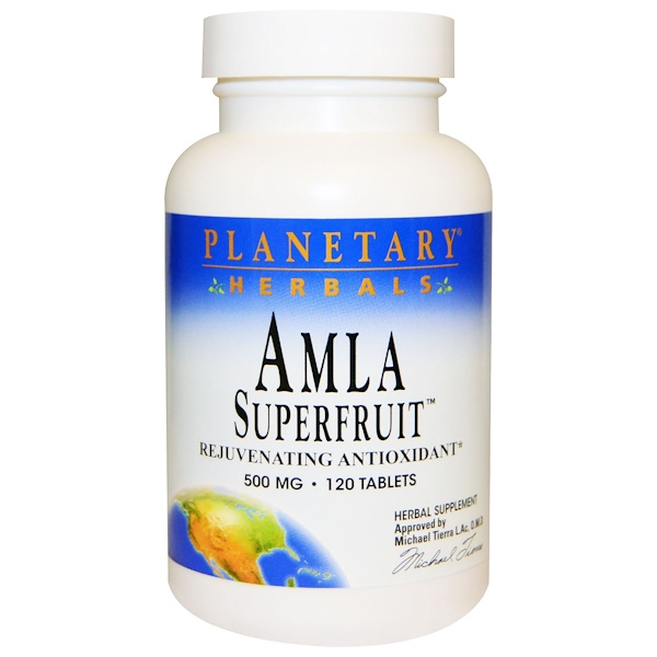 Planetary Herbals, Amla Superfruit Rejuvenating Antioxidant, 500 mg, 120 Tablets