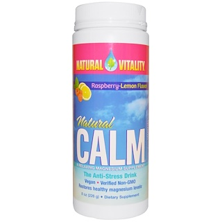 Natural Vitality, Natural Calm, The Anti-Stress Drink, Organic Raspberry-Lemon Flavor, 8 oz (226 g)