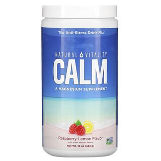 Natural Vitality, CALM, Mezcla para preparar bebidas antiestrés, Sabor a frambuesa y limón, 453g (16oz)