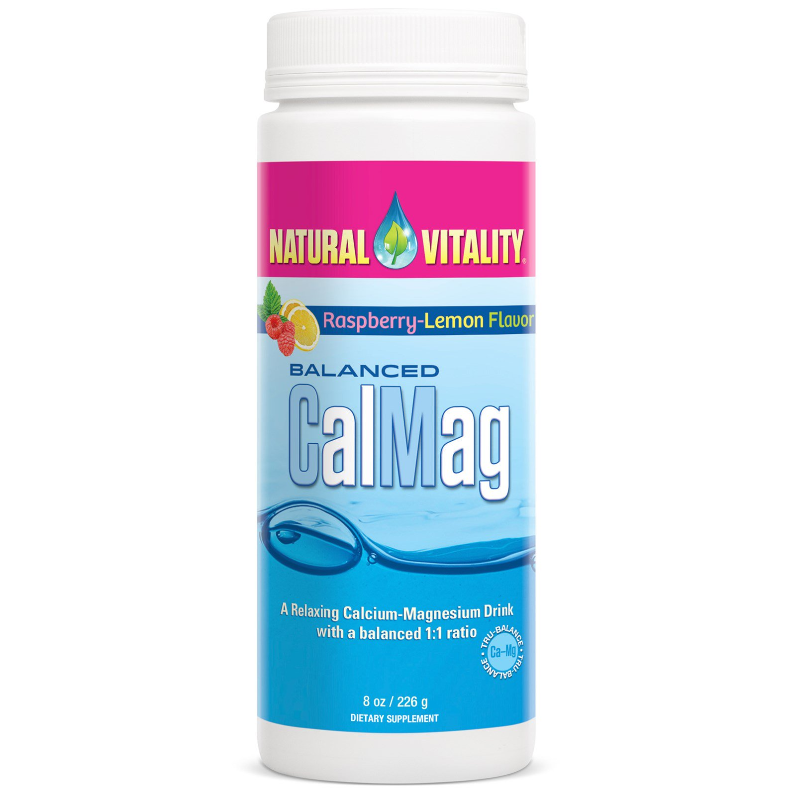 Natural Vitality, Баланс КальцийМагний, Вкус малины и лимона, 8 унций (226 г)